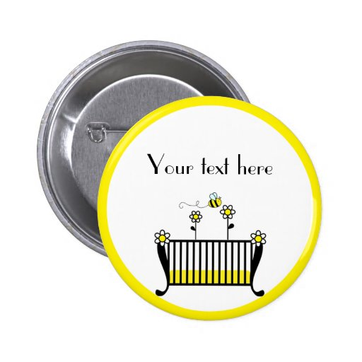 Bumble Bee Polka Dot Baby Shower Button
