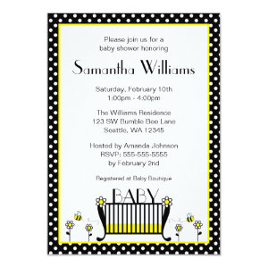 Bumble bee baby shower invitations cute baby shower invitations bumble bee polka dot baby shower invitations 5 filmwisefo Choice Image