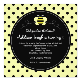 Bumble Bee Polka Dots- Birthday Invitation