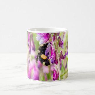 Bumble Bee Pollinating a Sweet Pea Flower Basic White Mug