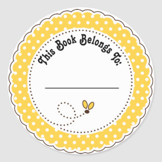 Bumble Bee Reading Bookplates Classic Round Sticker