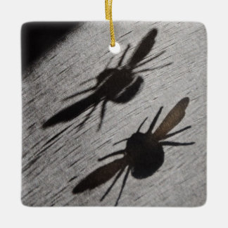 Bumble Bee Silhouette Shadow Ceramic Ornament
