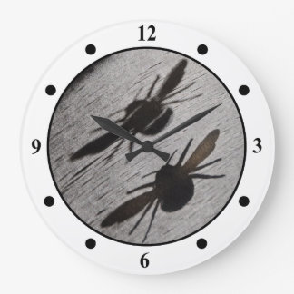 Bumble Bee Silhouette Shadow Large Clock