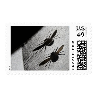 Bumble Bee Silhouette Shadow Postage Stamp