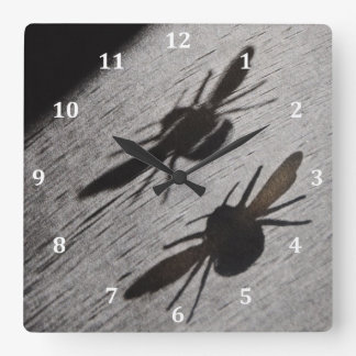 Bumble Bee Silhouette Shadow Square Wall Clock