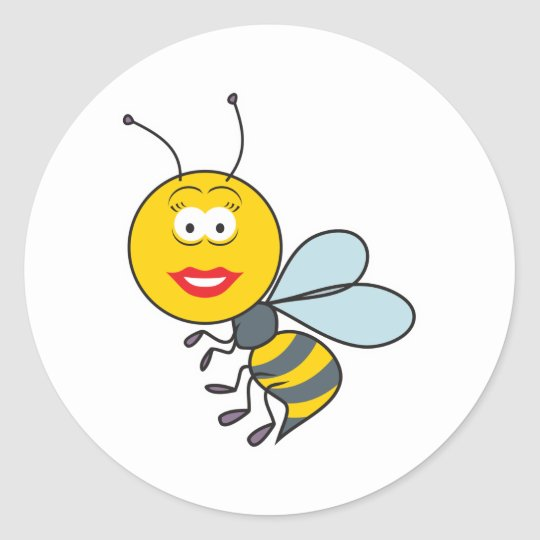 Bumble Bee Smiley Face Classic Round Sticker