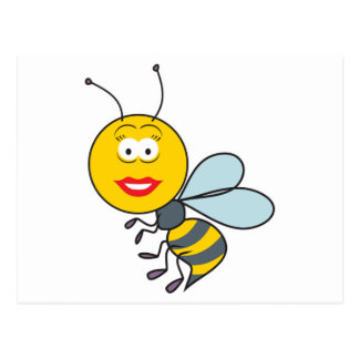 Bumble Bee Smiley Face Postcard