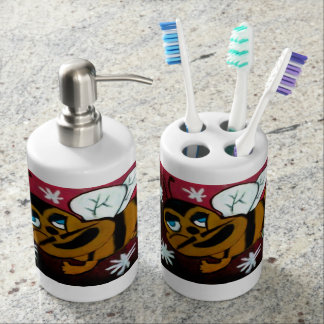 Bumble Bee Soap Dispenser And Toothbrush Holder