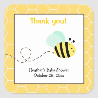Bumble Bee Square Favor Stickers