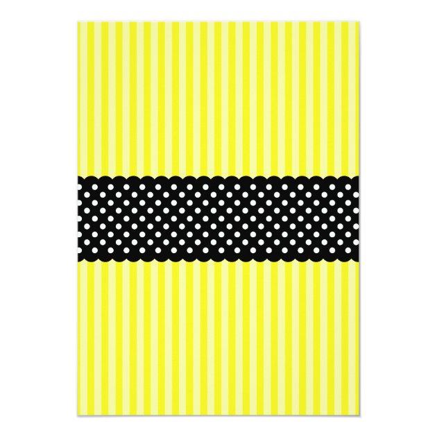 Bumble Bee Striped Dots Baby Shower Invitations (back side)