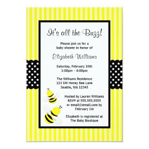Bee baby shower invitations zazzle bumble bee striped dots baby shower invitations filmwisefo