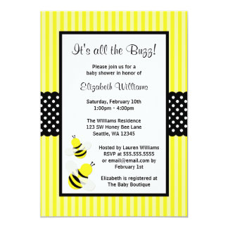 Bumble Bee Striped Dots Baby Shower Invitations