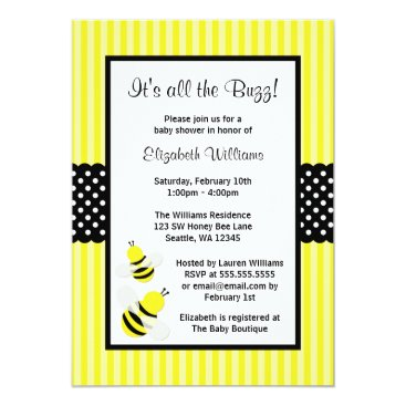 Toddler & Baby themed Bumble Bee Striped Dots Baby Shower Invitations