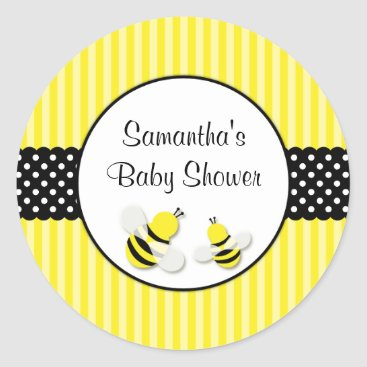 Toddler & Baby themed Bumble Bee Striped Polka Dots Baby Shower Classic Round Sticker