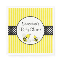 Bumble Bee Striped Polka Dots Baby Shower Paper Napkin