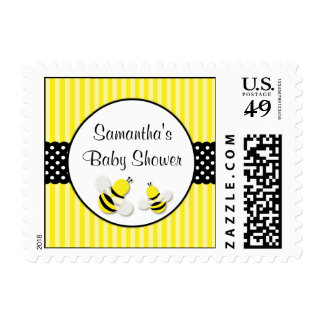 Bumble Bee Striped Polka Dots Baby Shower Postage