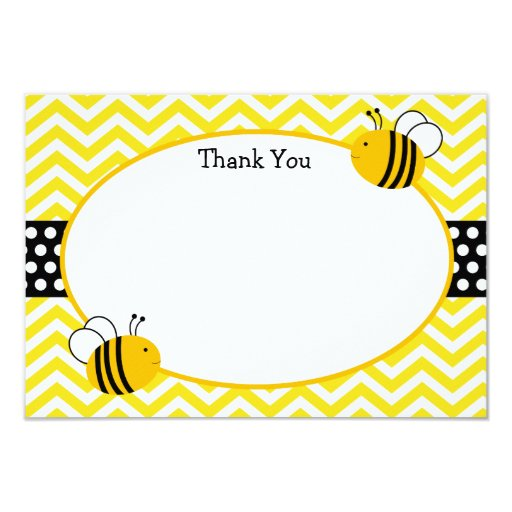 """Bumble Bee Thank You Cards 3.5"""" X 5"""" Invitation Card   Zazzle"""