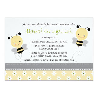 """Bumble Bee Twins Baby Shower Invitations 5"""" X 7"""" Invitation Card"""