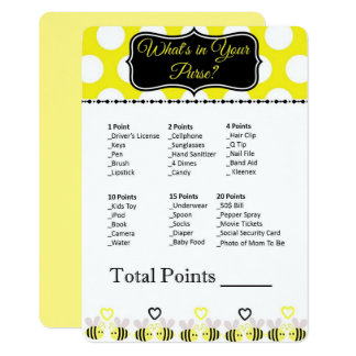 Bumble Bee What's in Your Purse? Baby Shower Game Card