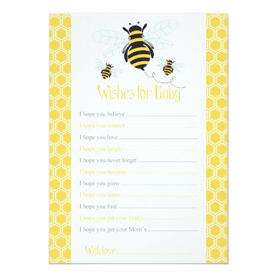 Bumble Bee Wishes For Baby Card Shower Game