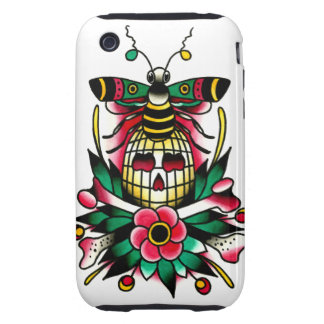 Bumble Bee with Bee Hive Skull and Crossbones iPhone 3 Tough Cases