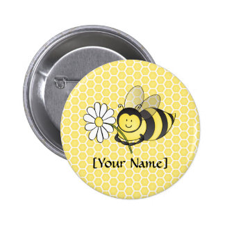 Bumble Bee with Daisy 2 Inch Round Button