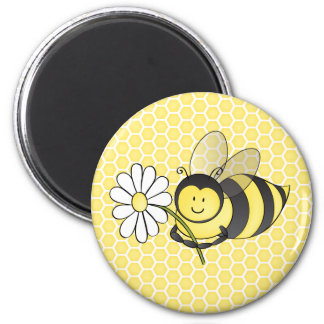Bumble Bee with Daisy 2 Inch Round Magnet