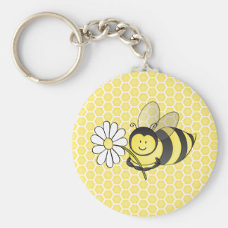 Bumble Bee with Daisy Basic Round Button Keychain