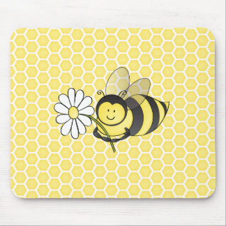 Bumble Bee with Daisy Mouse Pad