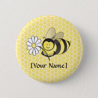 Bumble Bee with Daisy Pinback Button