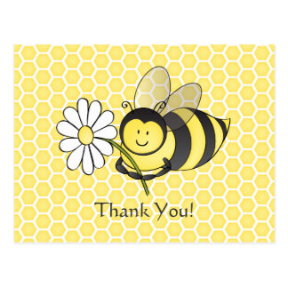 Bumble Bee With Daisy Thank You Postcard