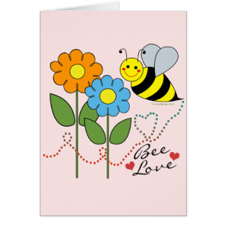 Bumble Bee With Flowers Bee Love Card