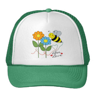 Bumble Bee With Flowers Bee Love Mesh Hats