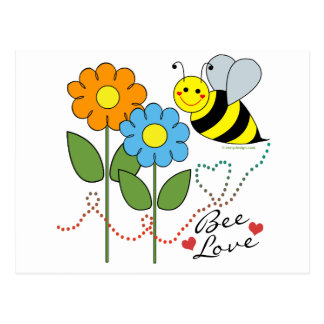 Bumble Bee With Flowers Bee Love Postcard