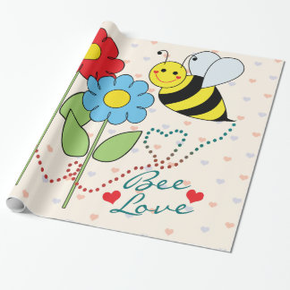 Bumble Bee With Flowers Bee Love Sheets Wrapping Paper