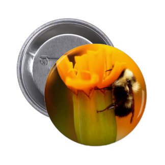 Bumble Bee with Marigold Pinback Button