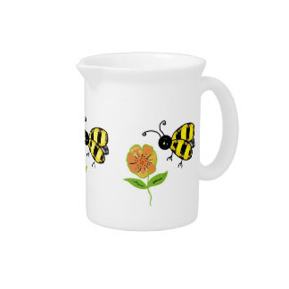 Bumble Bee with Orange and Yellow Flowers Beverage Pitcher