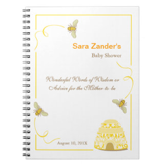 Bumble Bee  |  Words of Advice Baby Shower Notepad Spiral Notebook