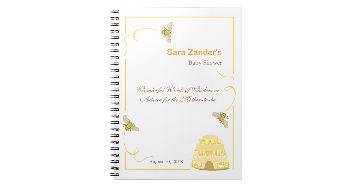 Bumble Bee Words Of Advice Baby Shower Notepad Spiral