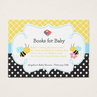 Bumble Bee Yellow and Black Baby Book Request Business Card