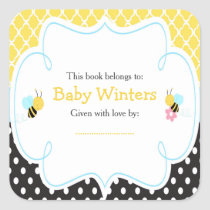 Bumble Bee Yellow and Black Baby Shower Bookplate