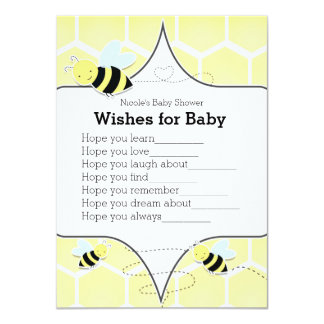 Bumble BEE Yellow Wishes for Baby Shower Game Card