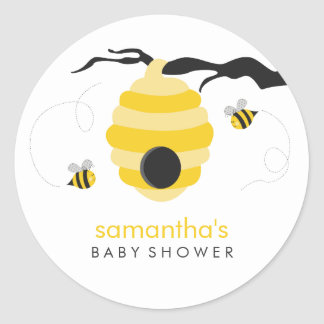 Bumble Bees Baby Shower Classic Round Sticker