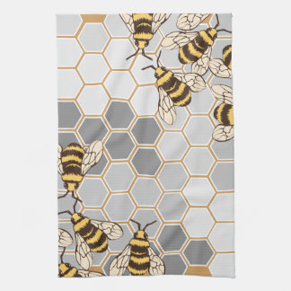 Bumble Bees Grey Honeycomb Kitchen Towel