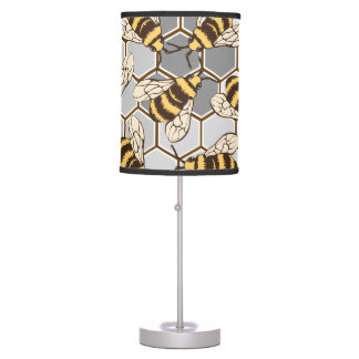 Bumble Bees Grey Honeycomb Table Lamp