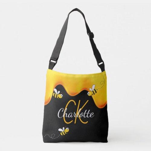 Bumble bees honey dripping monogram black golden crossbody bag