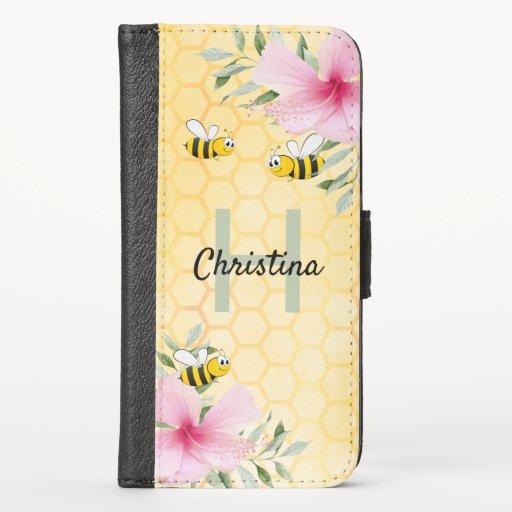 Bumble bees honeycomb florals pink monogram iPhone x wallet case