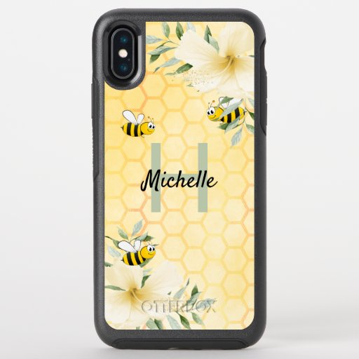 Bumble bees honeycomb tropical florals monogram OtterBox symmetry iPhone XS max case