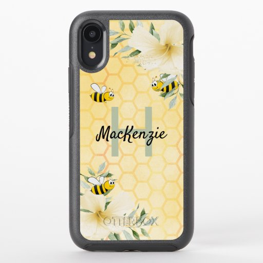 Bumble bees honeycomb tropical florals monogram OtterBox symmetry iPhone XR case
