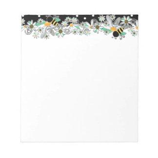Bumble Bees White Daisies and Black Polka Dots Notepad